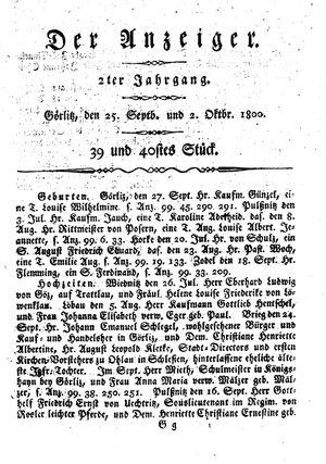 ˜Derœ Anzeiger vom 25.09.1800