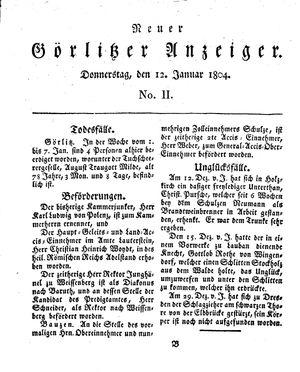 Neuer Görlitzer Anzeiger on Jan 12, 1804