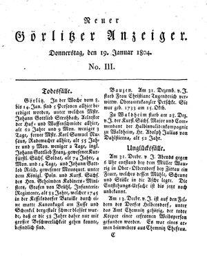 Neuer Görlitzer Anzeiger vom 19.01.1804