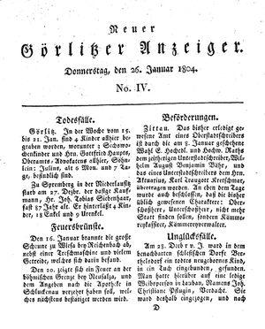 Neuer Görlitzer Anzeiger on Jan 26, 1804