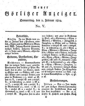 Neuer Görlitzer Anzeiger vom 02.02.1804