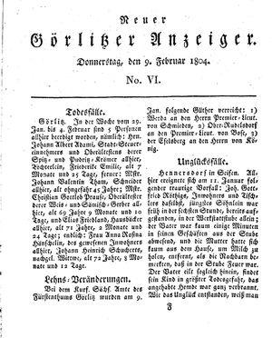 Neuer Görlitzer Anzeiger vom 09.02.1804