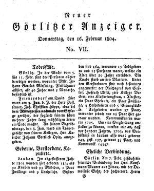 Neuer Görlitzer Anzeiger on Feb 16, 1804