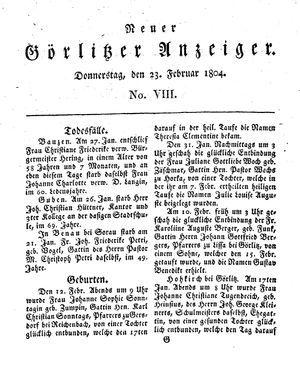Neuer Görlitzer Anzeiger vom 23.02.1804