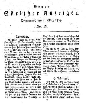 Neuer Görlitzer Anzeiger vom 01.03.1804