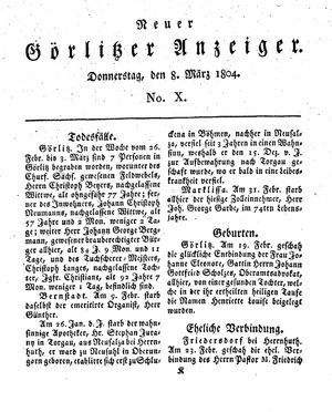 Neuer Görlitzer Anzeiger vom 08.03.1804