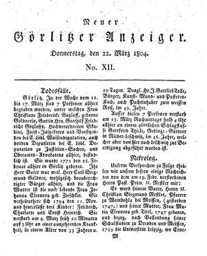 Neuer Görlitzer Anzeiger vom 22.03.1804