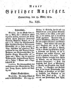 Neuer Görlitzer Anzeiger vom 29.03.1804