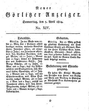 Neuer Görlitzer Anzeiger vom 05.04.1804
