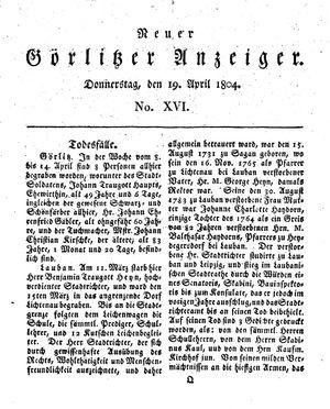Neuer Görlitzer Anzeiger vom 19.04.1804