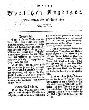 Neuer Görlitzer Anzeiger vom 26.04.1804