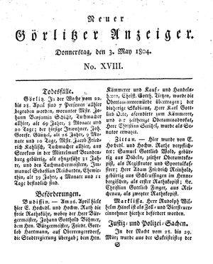 Neuer Görlitzer Anzeiger vom 03.05.1804