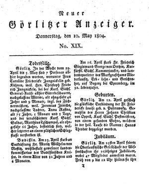 Neuer Görlitzer Anzeiger vom 10.05.1804