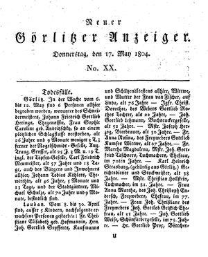 Neuer Görlitzer Anzeiger vom 17.05.1804