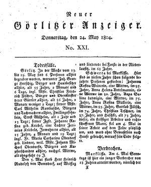 Neuer Görlitzer Anzeiger vom 24.05.1804