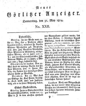 Neuer Görlitzer Anzeiger vom 31.05.1804
