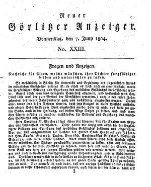Neuer Görlitzer Anzeiger vom 07.06.1804