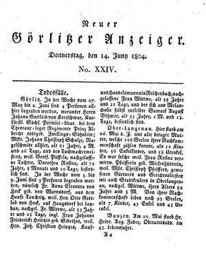Neuer Görlitzer Anzeiger vom 14.06.1804
