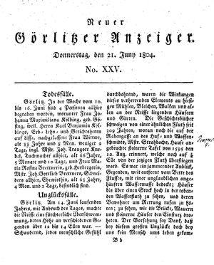 Neuer Görlitzer Anzeiger vom 21.06.1804