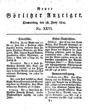 Neuer Görlitzer Anzeiger vom 28.06.1804
