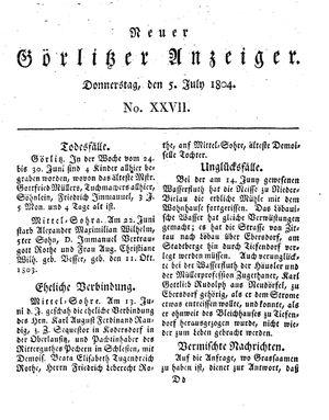 Neuer Görlitzer Anzeiger vom 05.07.1804