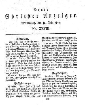 Neuer Görlitzer Anzeiger vom 12.07.1804