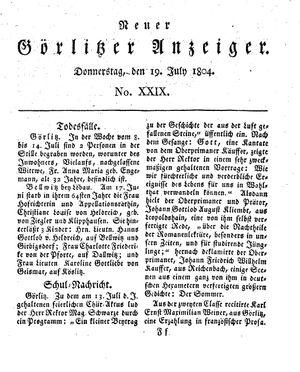 Neuer Görlitzer Anzeiger vom 19.07.1804