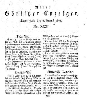 Neuer Görlitzer Anzeiger vom 02.08.1804