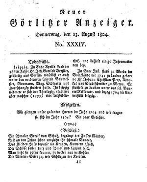 Neuer Görlitzer Anzeiger vom 23.08.1804
