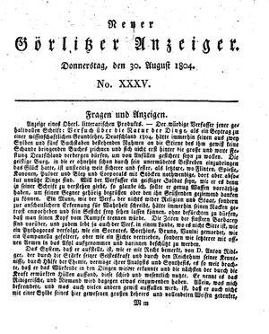 Neuer Görlitzer Anzeiger vom 30.08.1804