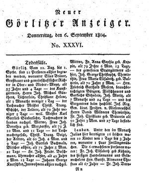 Neuer Görlitzer Anzeiger vom 06.09.1804