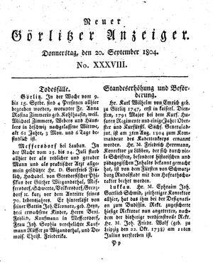 Neuer Görlitzer Anzeiger vom 20.09.1804