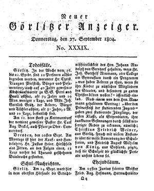 Neuer Görlitzer Anzeiger vom 27.09.1804