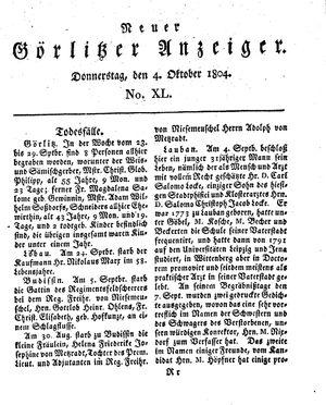 Neuer Görlitzer Anzeiger vom 04.10.1804