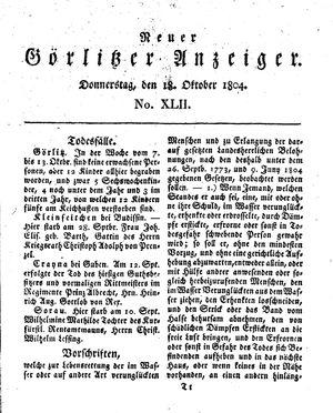 Neuer Görlitzer Anzeiger vom 18.10.1804