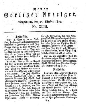 Neuer Görlitzer Anzeiger vom 25.10.1804