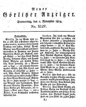 Neuer Görlitzer Anzeiger vom 01.11.1804