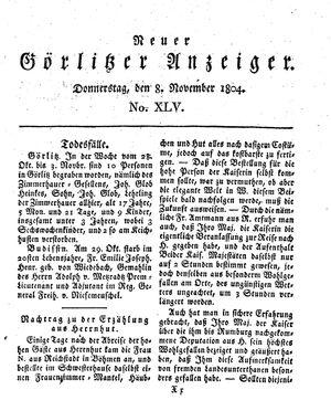 Neuer Görlitzer Anzeiger vom 08.11.1804