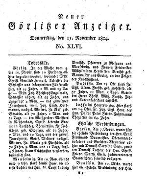 Neuer Görlitzer Anzeiger vom 15.11.1804