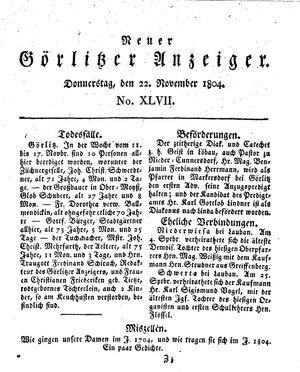 Neuer Görlitzer Anzeiger vom 22.11.1804
