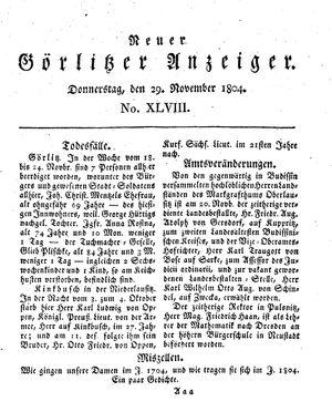 Neuer Görlitzer Anzeiger vom 29.11.1804
