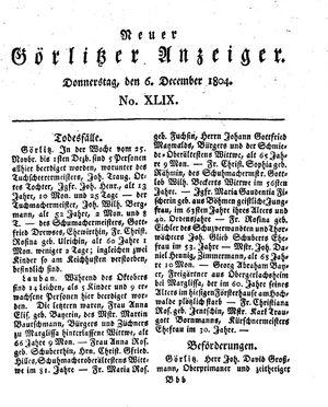 Neuer Görlitzer Anzeiger vom 06.12.1804