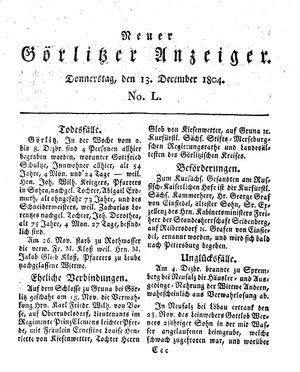 Neuer Görlitzer Anzeiger on Dec 13, 1804