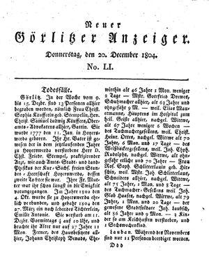 Neuer Görlitzer Anzeiger vom 20.12.1804