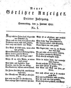 Neuer Görlitzer Anzeiger on Jan 3, 1805