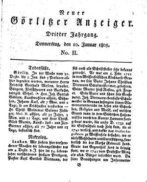 Neuer Görlitzer Anzeiger vom 10.01.1805