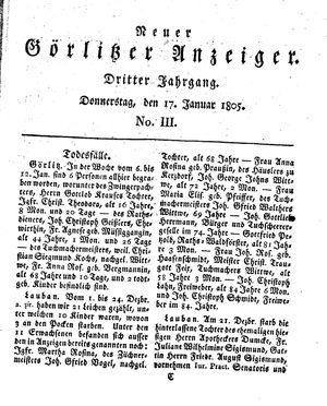 Neuer Görlitzer Anzeiger vom 17.01.1805