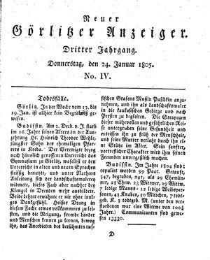 Neuer Görlitzer Anzeiger vom 24.01.1805