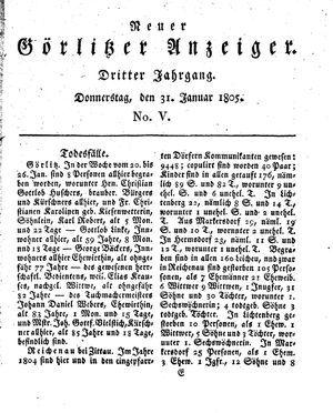 Neuer Görlitzer Anzeiger vom 31.01.1805
