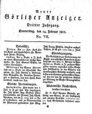 Neuer Görlitzer Anzeiger vom 14.02.1805